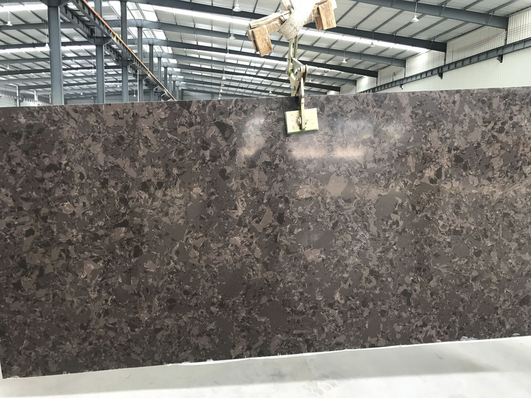 Marble Like Quartz Stone Slab Elegant Brown Color Solid Mirror Surface