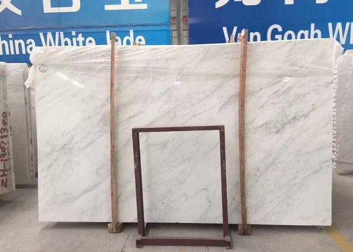 Beveled Edge Marble White Floor Tiles , 15 - 30mm Thickness Polished Marble Tile