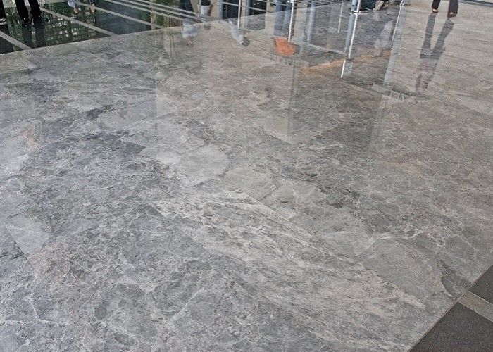 Silver Grey Marble Stone Tile Slab For Kitchen / Bathroom CE Approval