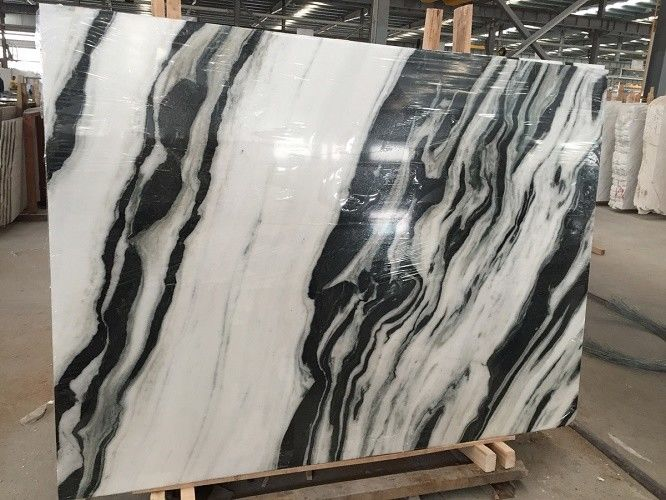 Black Vein Natural Marble Tile For Wall / Water Jet Design Grade A Quality