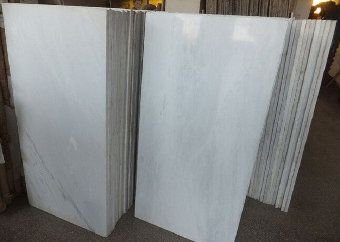 Pure White Polished Marble Floor Tiles , High Hardness Decorative Marble Tile