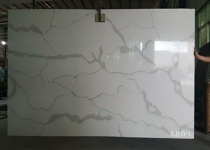 QS107 Polished White Slab Artificial Calacatta Quartz Stone for Vanity  countertop